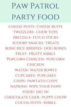 Paw Patrol Birthday Party- food, decor, party supplies and more. Everything you need to throw your own Paw Patrol birthday party! Puppy Birthday Parties, Puppy Party, Birthday Fun, Birthday Party Themes, Birthday Ideas, Third Birthday, Paw Patrol Birthday Decorations, Unicorn Birthday, Toddler Snacks