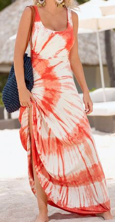 Orange and White Tie Dye Maxi Dress - Dresses Length : Ankle-Length - Neckline : O-Neck - Pattern Type : Tie Dye Print - Material : Polyester - Style : Casual - Silhouette : Fit And Flare - Sleeve Len Vestido Tie Dye, Tie Dye Maxi, Tie Dye Skirt, Tye Dye, Long Sleeve Maxi, Maxi Dress With Sleeves, Tank Dress, Dress Me Up, Fashion Clothes