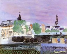 The Seine and Pont des Arts Artwork by Raoul Dufy Hand-painted and Art Prints on canvas for sale,you can custom the size and frame