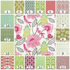 Pretty in Pink and Green Home Office Fabrics