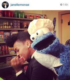 Janelle Monae on the set of Sesame Street