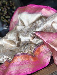Katan Silk Banarasi - Golden Beige Zari Vine woven – Panache-The Desi Creations