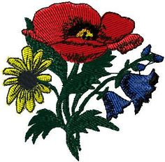 Poppy iron on or sew on applique Flowers by EmbroideryPatchLove