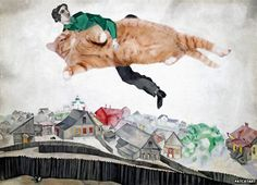 Occupy the Sky, based on Marc Chagall, Over the townRussian artist Svetlana Petrova has become known for her online artwork of famous portraits featuring her big ginger cat Zarathustra.