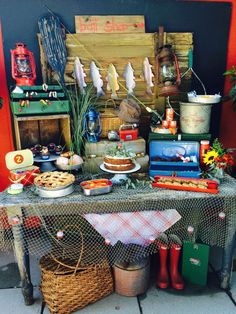 Awesome dessert table at a fishing Father's Day party! See more party planning ideas at CatchMyParty.com!