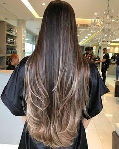 66 Ideas Hair Color Chocolate Brows Ombre Curls For 2019 Long Layered Hair, Long Hair Cuts, Bun Hairstyles For Long Hair, Straight Hairstyles, Beautiful Long Hair, Gorgeous Hair, Waist Length Hair, Brown Blonde Hair, Hair Highlights