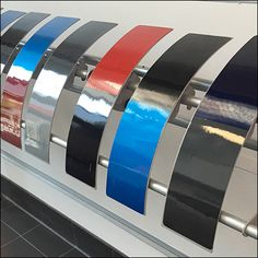 At first I thought that the curved surface caused the rainbow-like reflections off these auto body paint samples. Most where two colors, one upper, one lower, with many divided by a strip o… Car Painting, Body Painting, Car Paint Colors, One Upper, Paint Samples, Retail, Surface, Rainbow, Bodypainting