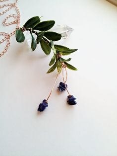 Lapis Lazuli Plant Necklace on a Long Copper Chain by CraneGoose