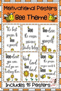 Updated: Now includes 30 posters- script and PRINT font! These posters are perfect for a motivational bee theme in your classroom, hallway or school. My students love bee puns and come up with many on their own. This resource includes 15 posters with the motivational sayings. #motivationalposters #growthmindset #classroomposters #classroomdecor #beetheme #fortheloveofteachers Classroom Bulletin Boards, Classroom Posters, Classroom Themes, Classroom Organization, Classroom Management, Montessori Classroom, Bee Puns, Bee Activities, Working Bee