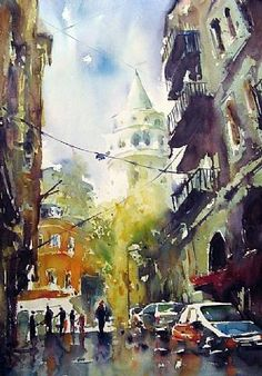 Burhan Özer Watercolour Tutorials, Watercolor Artists, Watercolor Paintings, Paintings I Love, Colored Pencils, Istanbul, Bodrum, Original Artwork, Cityscapes