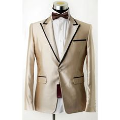 Gold Tuxedo with Black tape on the lapel