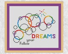Bubbles cross stitch pattern rainbow cross by ClimbingGoatDesigns