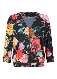 Daniel Hechter Modischer Blazer im sommerlichen Design für 99,95€. Modischer Blazer, Aus Polyester mit Stretch-Anteil, V-Ausschnitt, Blumen-Muster bei OTTO