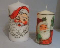Santa candles decorated with vintage napkins. (View more of my decoupage work on Facebook & Folksy 'Your Lovely Home')