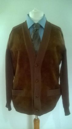 f797b73112 Vintage Pierre Sangan mens suede leather and knitted jacket Brown Suede
