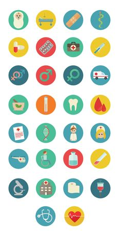 Medical Colorful Flat SVG icons by Designers Revolution