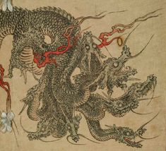 Yamato no Orochi - An enormous eight-headed, eight-tailed Japanese dragon, so huge that it's body stretched over eight hills and eight valleys. Susanoo, the god of the sea and storms, kills the dragon by getting each head drunk, then hacking the dragon to pieces.