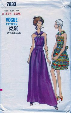 STUNNING Vintage Vogue Pattern 7833   -  Misses' One Piece Evening Dress Gathered Fitted Bodice  * Size 8 Bust 31.5