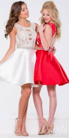 a42f8a7de45 JVN by Jovani Illusion Lace and Satin Homecoming Dress http   shopstyle.it