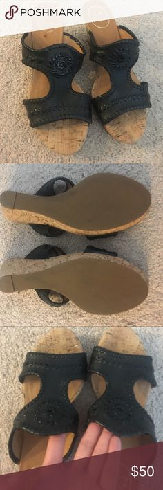 Jack Rogers Black Sandals size 8 Jack rogers black leather cork wedges size 8 without box, worn once in great condition Jack Rogers Shoes Sandals