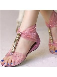 55c345820 Shop New Arrival Sweet Flat Heels Peep Toe Sandals on sale at Tidestore  with trendy design and good price. Come and find more fashion Flats here.