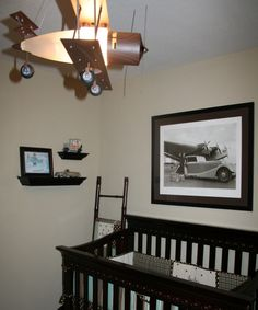 Vintage Cars & Planes, Baby boys nursery vintage cars and planes in blue and brown. , Nurseries Design