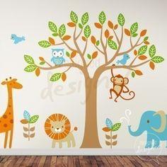 Tree and animals wall mural nursery