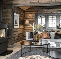 Home Living, Living Room Decor, Log Home Interiors, Modern Rustic Homes, Log Cabin Homes, Cabin Design, Scandinavian Style, Interior Design, Wood Cabins