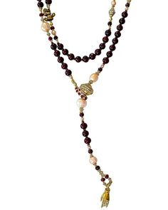 Rosewood Ruby and Pearl Lariat
