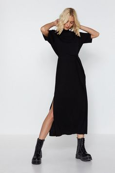 Tee Dress, Belted Dress, All Black Outfit For Work, All Black Style, Look Fashion, Fashion Outfits, Latest Fashion, Black Dress Outfits, All Black Dresses