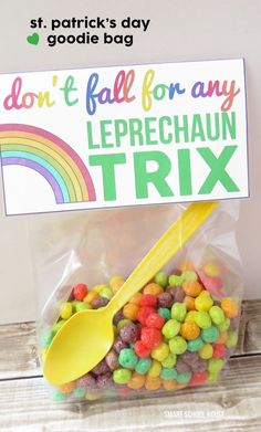 Don't fall for any Leprechaun Trix! A free St. Patrick's Day goodie bag printable