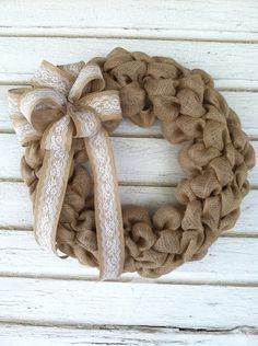 20 burlap wreath with lace bow perfect for wedding by cindidavis1, $39.00