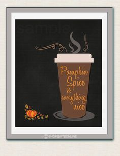 Pumpkin Spice Season  Fall Card  Chalkboard Art by shopgiftsonline