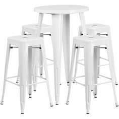 24'' Round White Metal Indoor-Outdoor Bar Table Set with 4 Square Seat Backless Barstools