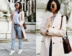 Beatrice Gutu - Coat, Shirt, Jeans, Shoes, Bag, Watch - Ripped Jeans