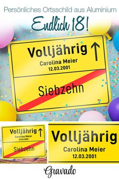 Personalisiertes Ortsschild zum Geburtstag - Volljährig Finally of age! Place sign for the birthday. A fun idea as a birthday present. As a gift idea for your best friend, best friend, brother, s Bday Gift For Boyfriend, Presents For Boyfriend, Boyfriend Gifts, 18th Birthday Party, Birthday Diy, Birthday Presents, Birthday Places, Original Gifts, Place Names