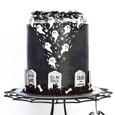 "ROGUE + WOLF on Instagram: ""The most Spooktacular cake we ever did see! 👻 Do you plan on cooking up any spooky Halloween treats this month? 🎃⁠ ⁠ Get 10% Off Sitewide…"" Halloween Desserts, Halloween Cakes, Halloween Party, Halloween Foods, Ghost Cake, Edible Art, Macaroons, Fondant, Cake Recipes"