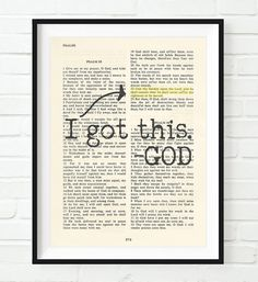 Vintage Bible verse scripture - I Got this -God - Psalm Christian ART PRINT, UNFRAMED, Cast your cares on the Lord and He will sustain you dictionary wall & home decor poster gift