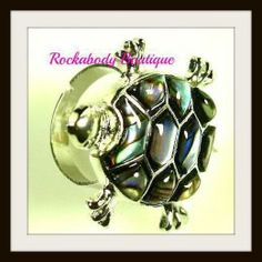 Abalone shell turtle ring...