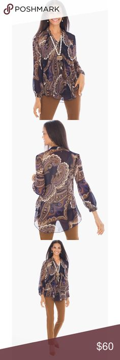 """{Chico's} Paisley Blouse A sheer flowing top is swept in paisley patterns, with a rich palette of navy accenting our favorite fall neutrals. Chico's size 1: M/size 8.  - Long sleeves. - Length: Shortest point 27.5"""", longest point 31"""". - Sheer fabric. Layer over your favorite tank or cami. - Polyester. - Machine wash. Chico's Tops Blouses"""