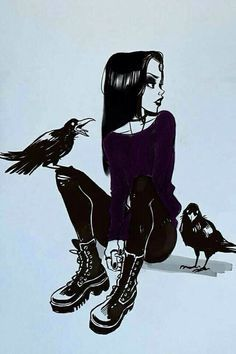 Raven battles the forces of evil alongside her adoptive family, the Teen Titans while trying to control her baser, antagonistic instincts she inherited from her demonic father, Trigon. Teen Titans Raven, Art Goth, Emo Art, Gothic Kunst, Art Sketches, Art Drawings, Drawing Faces, Arte Obscura, Art Et Illustration