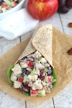 Perfect for summer picnics! This refreshing, Healthy Chicken Salad with Grapes, Apples and Tarragon-Yogurt Dressing is bursting with sweet fruit and crunchy pecans! So, so good! ~ from Two Healthy Kitchens at www.TwoHealthyKitchens.com