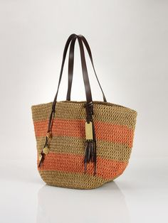 b2aa9177de95 Striped Straw Tote - Lauren Handbags Handbags - RalphLauren.com Burberry  Handbags, Chanel Handbags