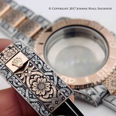 Here's a lovely Bi-colour Rolex which I handengraved earlier this year for . really great contrast between the rose gold and steel! Watch Engraving, Metal Engraving, Custom Engraving, Engraving Ideas, Fancy Watches, Rolex Watches, Watches For Men, Wrist Watches, Armour Tattoo