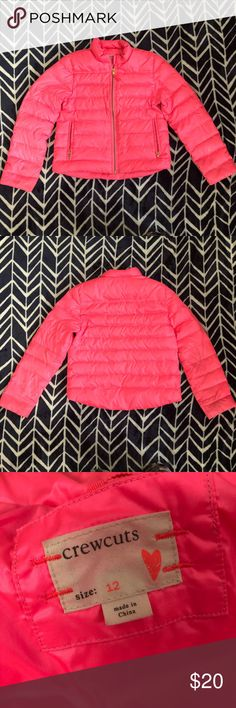 J. Crew hot pink puffer jacket Girls size 12 hot pink j. Crew puffer Coat. Down. Listed in play condition due to dirty play wear. This may come off if you're a stain genius. I only washed in dreft. The fabric content tag has been removed. No holes. J. Crew Jackets & Coats Puffers