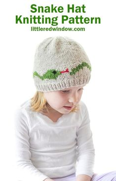 If you have a reptile enthusiast, they'll love this adorable snake hat knitting pattern! This one comes in sizes from newborn or toddler! Double Pointed Knitting Needles, Circular Knitting Needles, Easy Knitting, Baby Hat Knitting Pattern, Fair Isle Knitting Patterns, Snake Patterns, Animal Hats, Knit In The Round, Cute Hats
