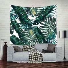 Palm Tapestry Mandala tapestry Decorative Green Leaf Bohemian Home Decor Mandala Tapestry Wall Hanging Indian Wall Art Blanket