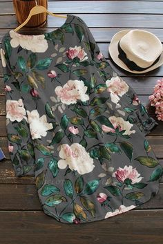 A| Cotton Floral Short Sleeve Shift Dress-Cheap Casual Dresses | Chicloth Cheap Dresses Online, Mini Shirt Dress, Cheap Blouses, Types Of Dresses, Casual Dresses, Women's Dresses, Floral Shorts, Cotton Style, Long Sleeve Shirts