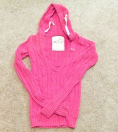 HOLLISER Sweater Ladies Size Small Hot Pink V Neck Cable Sweater Hoody Sweater   #Hollister #VNeck