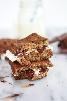 Grilled Banana Bread Peanut Butter S'more with Vanilla Marshmallows